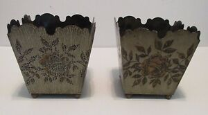 Pr Vintage French Tole Planter 5 Square Cache Pots Ball Feet Signed Ede Tin