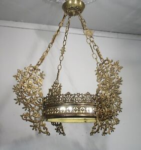 Antique Vintage French Bronze Chandelier 4 Lt Fixture Lamp Early 1900 S Ornate