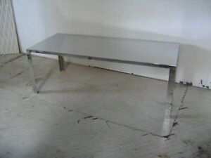 Retail Display Table Mirror Like Finish Metal Covered Large Rectangle Table