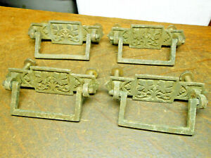 Early Vintage Brass Dresser Drawer Pull Original Salvaged Lot 4 Pcs