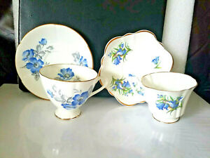 2 Staffordshire English Castle Bone China Tea Cups Saucers Blue