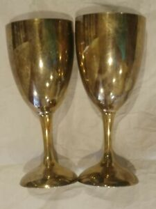 Pair Silver Plated International Silver Co Goblet Cups 6 7 8 Tall
