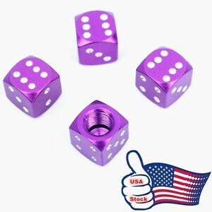 4 Purple Dice Tire Wheel Air Stem Valve Caps Cover Fit Car Truck Bike