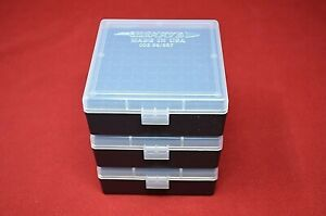 (3) 357  38  PLASTIC STORAGE  AMMO BOXES (CLEAR COLOR) BERRY'S MFG