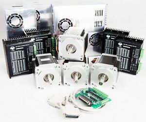 4axis Nema34 Stepper Motor 878oz in 2a Driver Controller Cnc Kits