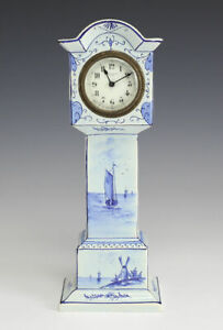 Austrian Hand Painted Porcelain Miniature Long Holster Clock New Haven