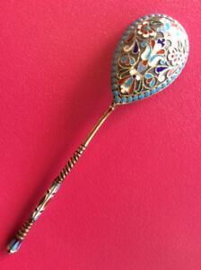 Nice Original Cloisonne Enamel Silver 88 Russian Imperial Antique Spoon Russia