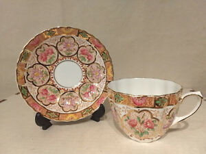 Salisbury Fine Bone China Floral Cameo England Cup Saucer Gold Chintz Scalloped