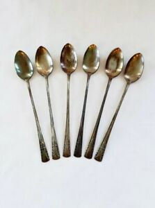 6 Piece Antique Long Handle Iced Tea Spoons Camelia International Silver