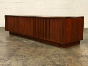 Mid Century Modern Console Table With Tambour Doors Great Media Tv Stand