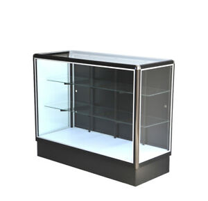Black Aluminum Showcase Full Vision 48 Inch Frame Shelf Retail Store Display