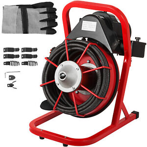 50ft X 1 2 Drain Cleaner 250w Drain Auger Snaker Cleaning Machine W Cutters