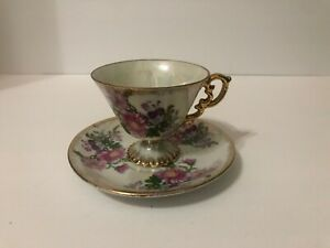 Vintage Sterling China Japan Tea Cup Saucer November Chrysanthemum