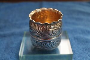Antique Derby Silver Co Silver Plate Toothpick Holder Floral Repousse Gold Wash
