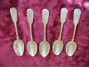 Rare Set Faberge Five Spoons Silver 84 Monogram Russian Imperial Antique Russia