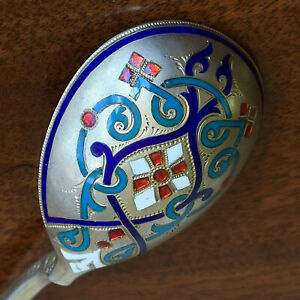 Nice Champleve Enamel Spoon Khlebnikov Silver 84 Russian Imperial Antique Russia