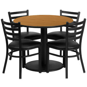36 Round Natural Laminate Top Restaurant Table Set W 4 Metal Chairs Black Vinyl