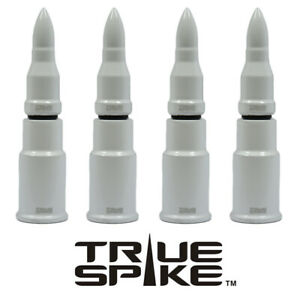4 True Spike White Bullet Wheel Rim Air Valve Stem Cover Caps For Jeep Cherokee