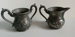Antique Sheffieldplate Cream And Sugar Etched Set Late 1800s Silver Made In Usa