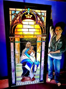 Breathtaking Stained Glass Church Window Circa 1800s Virgin Mary