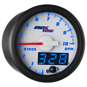 White Blue Maxtow Double Vision Tachometer Gauge