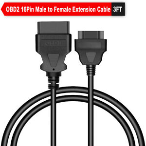 16 Pin Male To Female Obd2 1m Extension Adapter Cable Connector For Auto Scanner