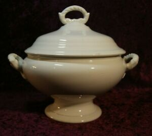 Large Antique White Ironstone Soup Tureen Signed Boch Fr Res Belgium
