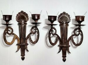 Pair Vintage Ornate French Style 11 1 2 Brass Wall Candle Holder Sconces