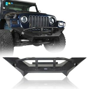 Black Front Bumper Bar W winch Plate Led Light For Jeep Wrangler Tj 1997 2006