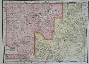 Ok Tx 1898 Dated Indian Territory Oklahoma Map Or Texas 1895 Dated 19th Century