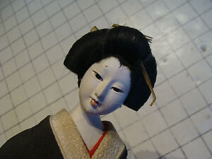 Vintage Asian Doll With Black Outfit On Wood Stand Crack On Face