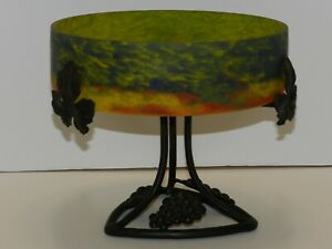 Great Art Deco Iron And Speckled Art Glass Tazza Signed Degue David Gueron