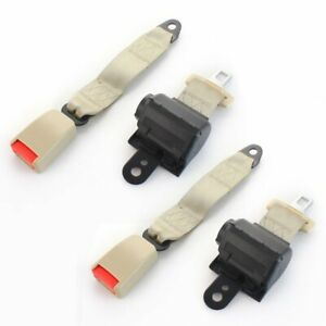 2sets 2 Point Harness Safety Seat Belt Buckle Clip Beige Retractable Universal
