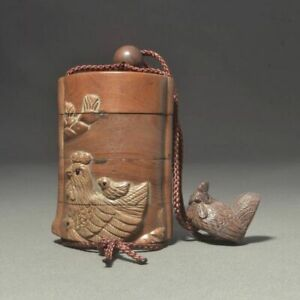 Inro Chicken Ojime Japanese Wooden Carving Pillbox