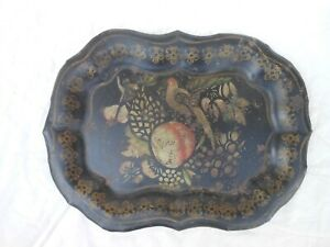 Good Small Antique Toleware Tin Tray With Bird Peach Decoration