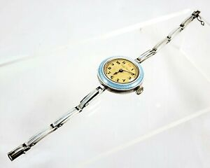 Swiss 935 Silver And Enamelled Hallet Co Lady Recine Watch Silver Strap