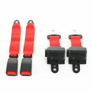 A Pair 2 Point Harness Retractable Safety Lap Strap Buckle Clip Seatbelt Red