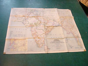 Original National Geographic Map 1946 India Burma 25 X 30 Some Tape Corners