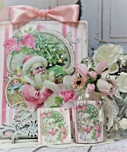 Shabby Chic Vintage Decorative Perfume Type Bottle Wall Sing Pink Christmas