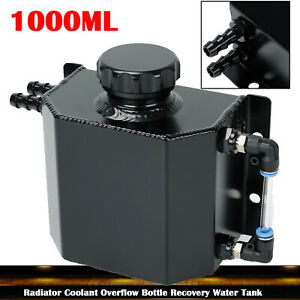 1l Black Aluminum Radiator Coolant Overflow Bottle Recovery Water Tank Reservoir