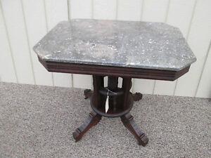 56217 Antique Victorian Marble Top Lamp Table Stand