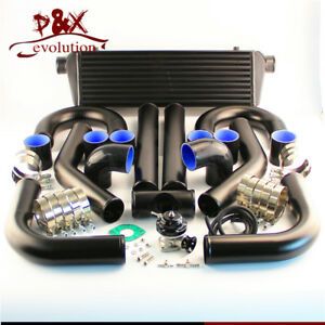 Universal Diy Intercooler 2 5 63mm Aluminum Piping Bov Black Hoses Kit