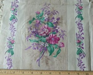 Antique C1860 French Lovely Rose Chintz Manufacturer S Sample Fabric 20 X 21 5