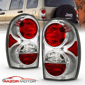 2002 2005 Replacement Chrome Tail Light Pair Set For Jeep Liberty Left Right