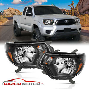 For trd Style 2012 2013 2014 2015 Toyota Tacoma Black Headlights Pair