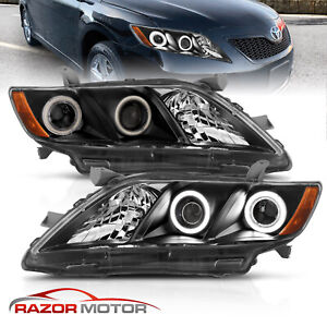 Dual Led Halo For 2007 2008 2009 Toyota Camry Black Projector Headlights Pair