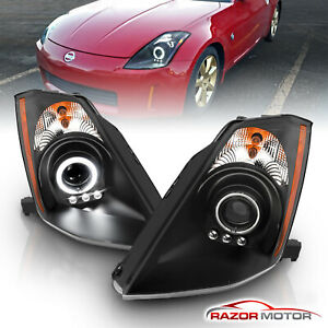 ccfl Halo for 2003 2004 2005 Nissan 350z Led Projector Black Headlights Pair