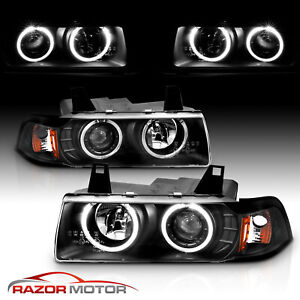 dual Led Halo 1992 1999 Bmw E36 3 Series Coupe Projector Black Headlights Pair
