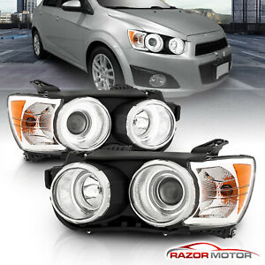 dual Ccfl Halo 2012 2013 2014 2015 Chevy Sonic Chrome Projector Headlights Set