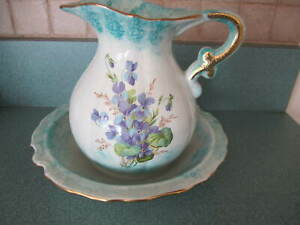 Vintage Pitcher And Bowl Wash Set With Violets And Gold Trim